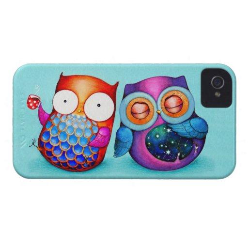 Noctámbulo y búho Cuties de la mañana Case-Mate iPhone 4 Cárcasa
