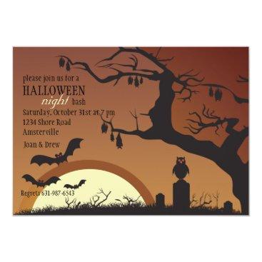 Halloween Themed Nocturnal Creatures Halloween Invitation