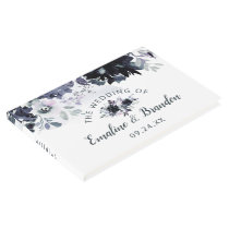Nocturnal Floral Chic Navy Watercolor Wedding Guest Book