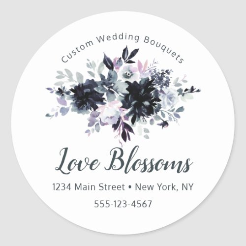Nocturnal Floral Custom Text Business Logo Classic Round Sticker