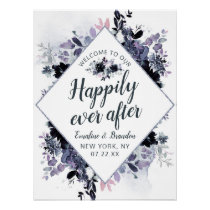 Nocturnal Floral Happily Ever After Reception Sign