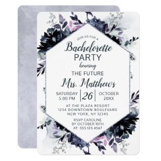 Nocturnal Floral Hexagon Frame Bachelorette Party Invitation