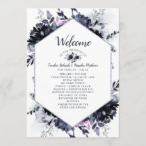 Nocturnal Floral Hexagon Frame Wedding Ceremony Program