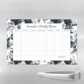Nocturnal Floral Monthly Planner Calendar Magnetic Dry Erase Sheet