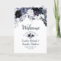 Nocturnal Floral Navy Blue Chic Wedding Ceremony Program