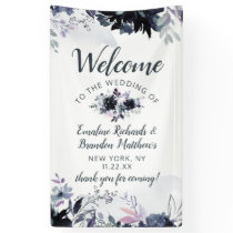 Nocturnal Floral Navy Blue Chic Wedding Welcome Banner