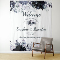 Nocturnal Floral Navy Blue Chic Wedding Welcome Tapestry