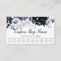 Nocturnal Floral Navy Blue Custom Text Business Loyalty Card