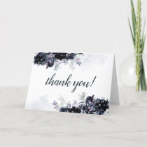 Nocturnal Floral Navy Blue Custom Wedding Photo Thank You Card