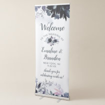 Nocturnal Floral Navy Blue Elegant Wedding Welcome Retractable Banner