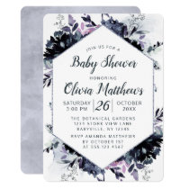 Nocturnal Floral Navy Blue & Gray Baby Girl Shower Invitation