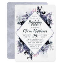 Nocturnal Floral Navy Blue & Gray Birthday Party Invitation