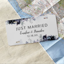Nocturnal Floral Navy Blue Wedding Just Married License Plate