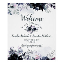 Nocturnal Floral Navy Blue Wedding Welcome Sign