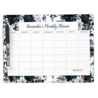 Nocturnal Floral Navy Monthly Planner Calendar Dry Erase Board With Keychain Holder