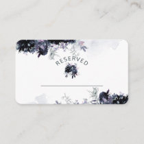 Nocturnal Floral Navy Reserved Seating Wedding Place Card