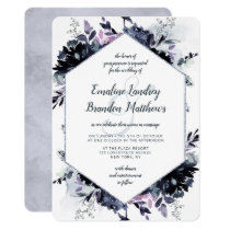 Nocturnal Floral Navy Silver Hexagon Wedding Invitation