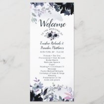 Nocturnal Floral Navy Watercolor Wedding Ceremony Program