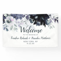 Nocturnal Floral Navy Watercolor Wedding Welcome Banner