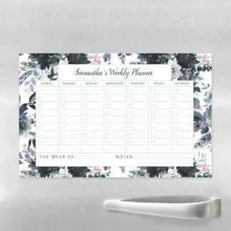 Nocturnal Floral Navy Weekly Planner Calendar Magnetic Dry Erase Sheet