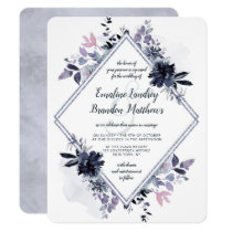 Nocturnal Floral Silver Double Diamond Wedding Invitation