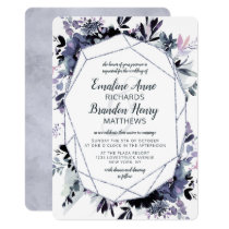 Nocturnal Floral Silver Gem Terrarium Wedding Invitation