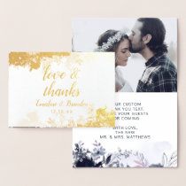 Nocturnal Floral Thank You Wedding Photo Gold Foil Card