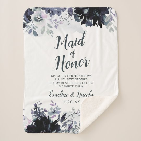 Nocturnal Floral To the Maid of Honor Quote Sherpa Blanket