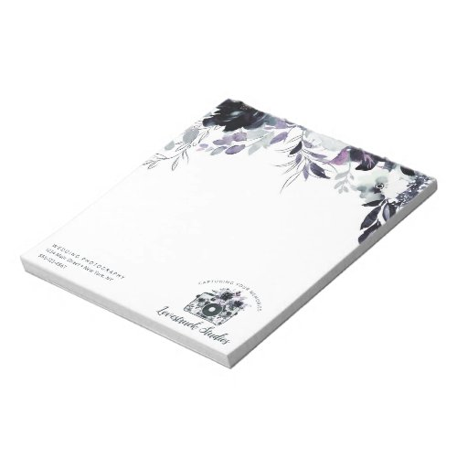 Nocturnal Floral Watercolor Custom Text  logo Notepad
