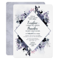 Nocturnal Floral Watercolor Diamond Frame Wedding Invitation