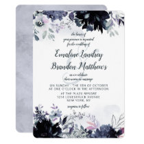 Nocturnal Floral Watercolor Lush Elegant Wedding Invitation