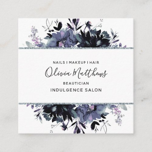 Nocturnal Floral Watercolor Navy Blue Gray Framed Square Business Card
