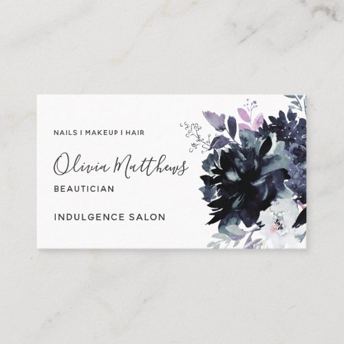 Nocturnal Floral Watercolor Navy Blue Social Business Card