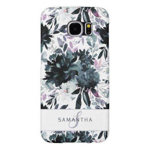 Nocturnal Floral Watercolor Navy Custom Monogram Samsung Galaxy S6 Case