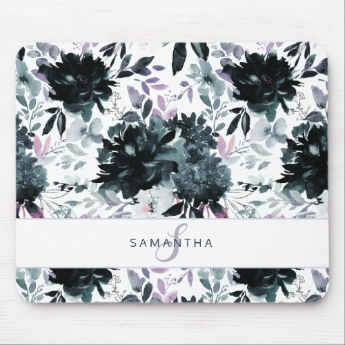 Nocturnal Floral Watercolor Navy Custom Monogram Mouse Pad