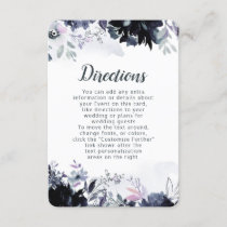 Nocturnal Floral Watercolor Wedding Directions Enclosure Card