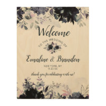 Nocturnal Floral Watercolor Wedding Welcome Sign