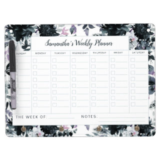 Nocturnal Floral Watercolor Weekly To-Do Planner Dry Erase Board With Keychain Holder