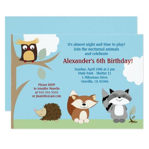 Nocturnal Forest Animals 5x7 Birthday Invitation