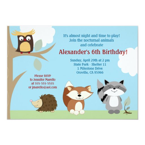 Nocturnal Forest Animals 5x7 Birthday Invitation