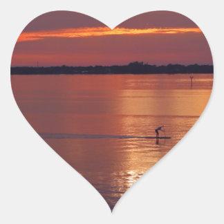 Nocturnal Paddle Boarder Returns Heart Sticker