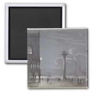 Nocturnal Scene of Palazzo Ducale and the Two Colu 2 Inch Square Magnet