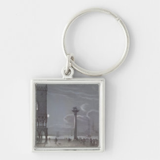 Nocturnal Scene of Palazzo Ducale and the Two Colu Keychain