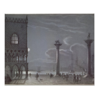 Nocturnal Scene of Palazzo Ducale and the Two Colu Poster