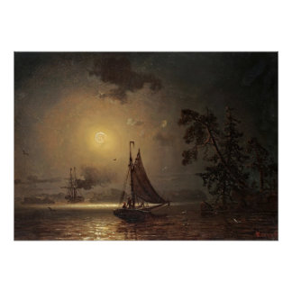 Nocturnal voyage by Ivan Aivazovsky Posters