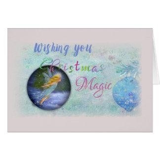 nocturne de hadas mágico del navidad tarjeta de felicitación