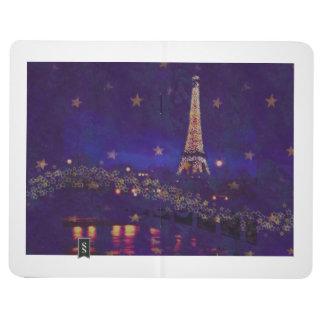 nocturne de la torre Eiffel del centelleo Cuadernos Grapados