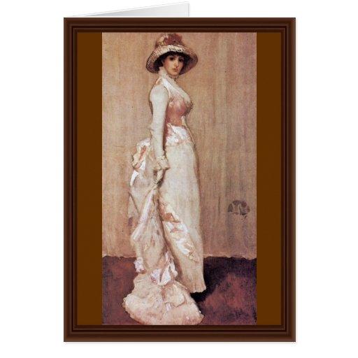 Nocturne en el retrato rosado y gris de señora Meu Tarjeta De Felicitación