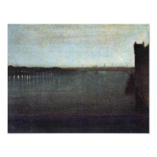 Nocturne en gris y puente de Westminster del oro Invitación 10,8 X 13,9 Cm