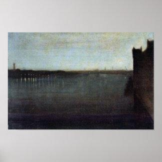 Nocturne en gris y puente de Westminster del oro p Impresiones